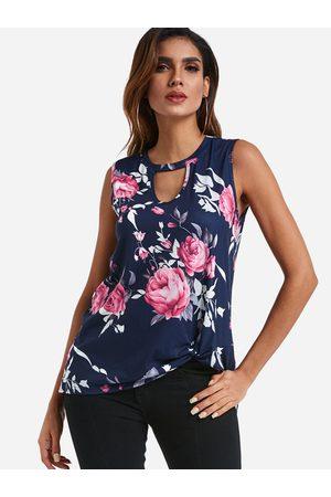 YOINS Blue Cut Out Random Floral Print Crew Neck Knot Details Tank Top