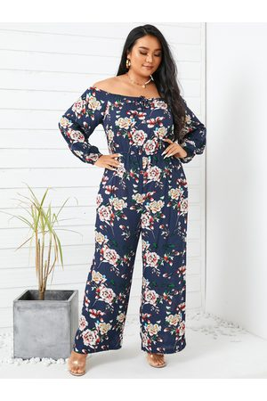 YOINS Women Long Sleeve - Plus Size Off The Shoulder Floral Print Wide Leg Long Sleeves Jumpsuit