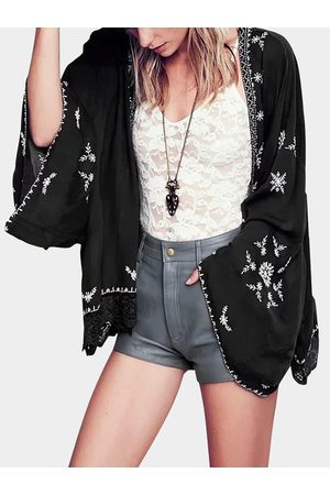 YOINS Embroidered Kimono With Lace Hem