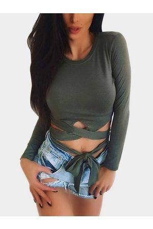 YOINS Women Long Sleeve - Cut Out Cross Front Long Sleeves Tops