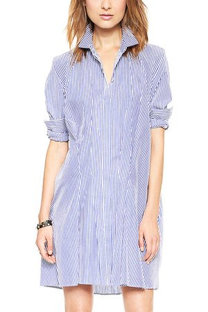 YOINS Women Long sleeves - Stripped Long Sleeve Shirt Dress