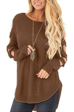 YOINS Coffee Cut Out Plain Crew Neck Long Sleeves Slit Hem Sweaters