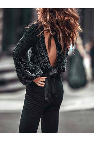 YOINS Black One Shoulder Long Sleeves Sequins Knit Top