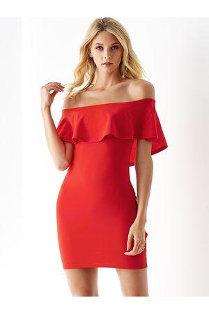 YOINS Off the shoulder Overlay Short Sleeves Dress