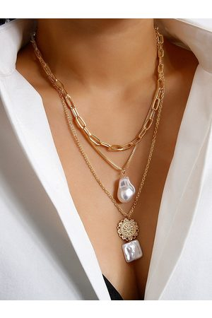 YOINS Pearl Pendant Necklace Multi-layer Necklace