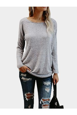 YOINS Rossed Back Design Round Neck Long Sleeves Backless Top