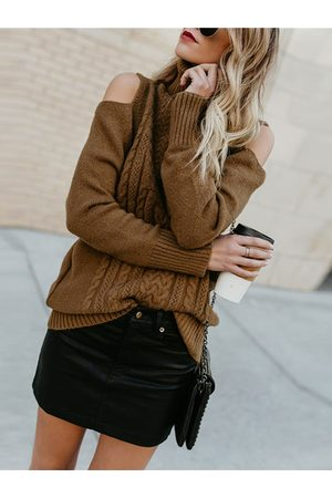 YOINS Coffee Cable Knit High Neck Long Sleeves Sweater