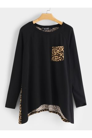 YOINS Side Pockets Leopard Round Neck Long Sleeves Irregular Hem Tee
