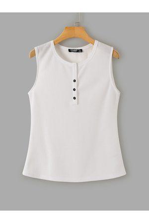 YOINS Women Tank Tops - White Front Button Screw Thread Tank Top