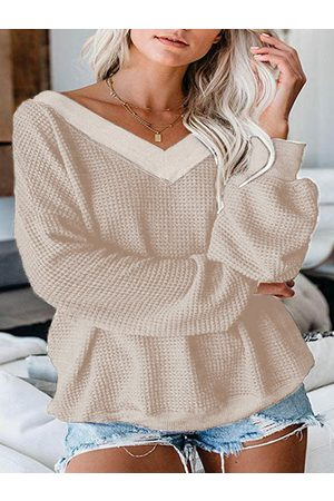 YOINS Casual V-neck Long Sleeves Knit Top