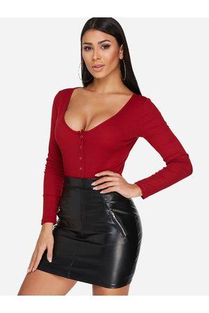 YOINS Button Design Plain Scoop Neck Long Sleeves Bodysuits
