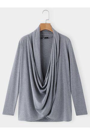 YOINS Light Deep V-neck Long Sleeves Casual T-shirt