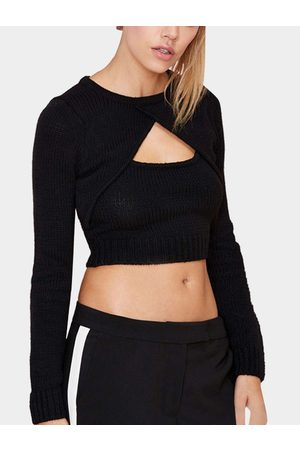 YOINS Sexy Cross Front Hollow Design Pullover Jumper