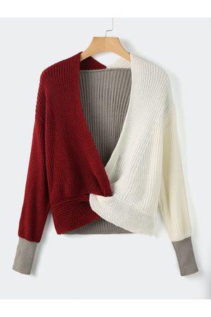 YOINS Patchwork Crossed Collar Long Sleeves Sweater