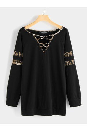 YOINS Leopard Criss Cross Long Sleeves T-shirt
