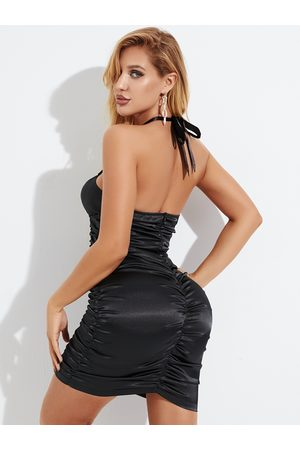 YOINS Black Ruched Backless Lace-up Design Halter Sleeveless Dress