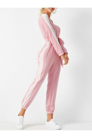 YOINS Pink Lace-up Design Patchwork V neck Long Sleeves Jumpsuit