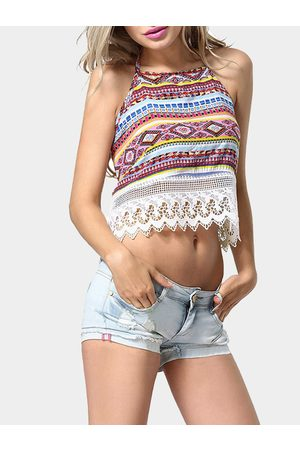 YOINS Halter Crop Top With Crochet Lace Hem
