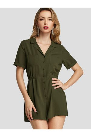 YOINS Army Green Button Design V-neck Short Sleeves Playsuit