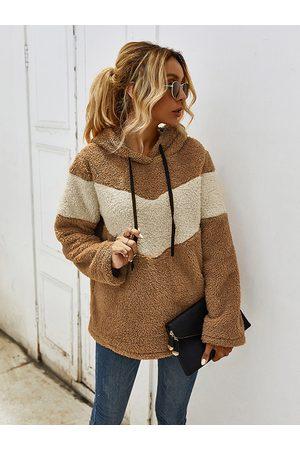 YOINS Patchwork Hooded Design Drawstring Long Sleeves Sweatshirt