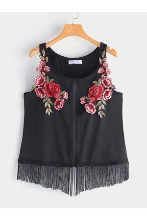 YOINS Plus Size Embroidered Zipper Front Tassel Hem Cami