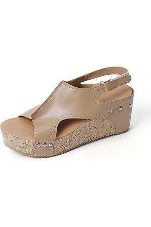 YOINS Apricot Peep Toe Rivet Design Wedge Sandals