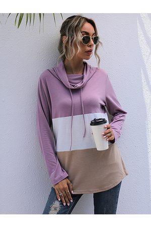 YOINS Color Block Chimney Collar Long Sleeves Sweatshirt