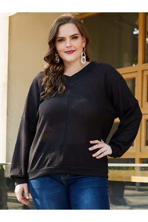 YOINS Plus Size V Neck Long Sleeves Knit Tee