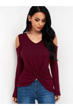 YOINS Crossed Front Design Plain Cold Shoulder Long Sleeves T-shirts