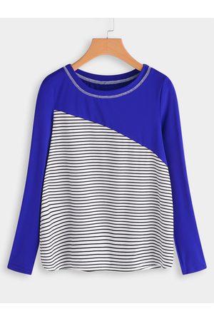 YOINS Stitching Design Stripe Round Neck Long Sleeves T-shirt