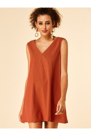YOINS Rust Backless Design Plain V-neck Sleeveless Dress