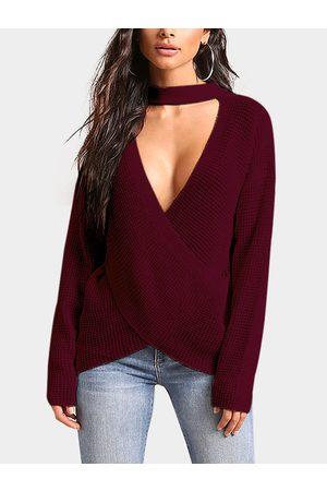 YOINS Crossed Front Design Deep V Neck Sweater