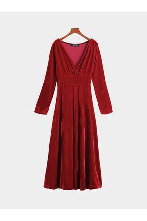 YOINS Wrap Front Velvet Maxi Dress