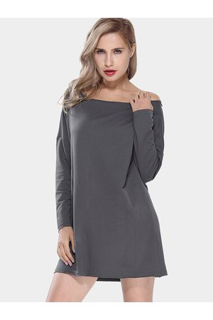 YOINS Long Sleeve Sweatshirt Dress with Cut Out Back