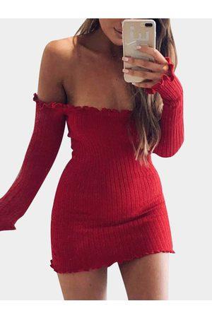 YOINS Off-The-Shoulder Frill Hem Sweater Knit Dress