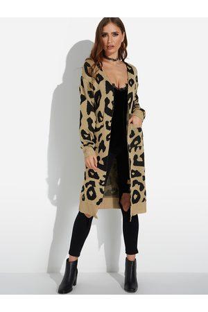 YOINS Side Pockets Leopard Long Sleeves Cardigan