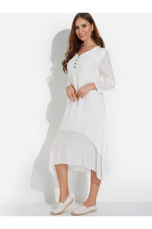 YOINS Casual Button-down Irregular Layered Hem Maxi Dress