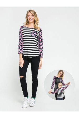 YOINS Floral Striped Print Mom and Daughter Matching T-Shirts - Mom