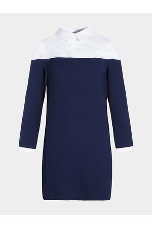 YOINS Stitching Long Sleeves Shirt Dress with Polka Dot Print