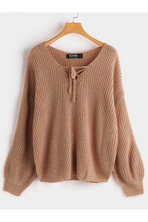 YOINS Self-tie Design One Shoulder Long Sleeves Sweater