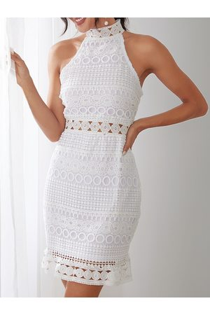 YOINS Lace Cut Out Design High Neck Sleeveless Dress