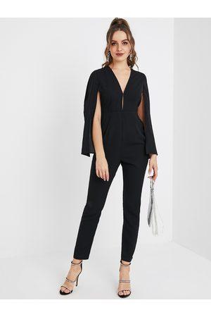YOINS Black Slit Design Long Sleeves High-Waisted Jumpsuit