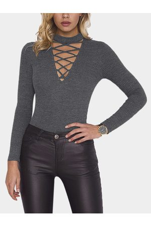 YOINS Lace-up Design Deep V Neck Long Sleeves Knitted Tee