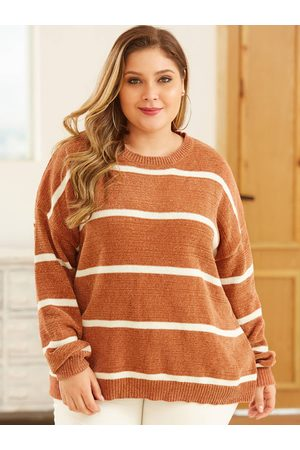 YOINS Plus Size Stripe Round Neck Long Sleeves Sweater
