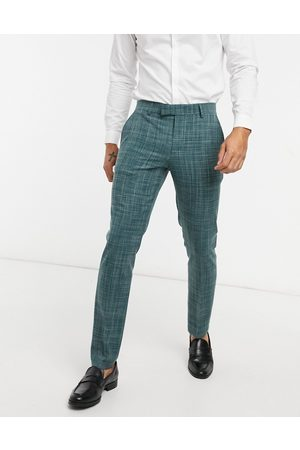 ASOS Wedding skinny suit trousers in pine crosshatch