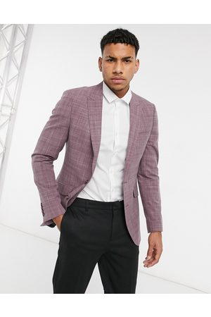 ASOS Wedding skinny suit jacket in burgundy crosshatch