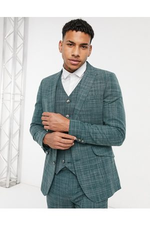 ASOS Wedding skinny suit jacket in pine crosshatch