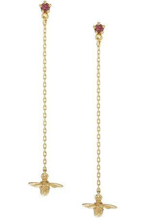 Alex Monroe 18kt yellow Fine Chain Bee sapphire drop earrings