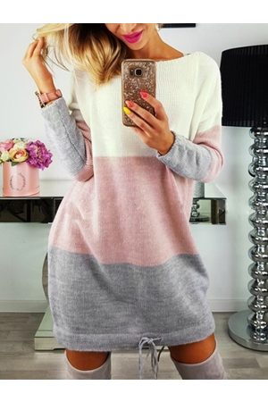 YOINS Color Block Adjustable Tie-up Design Long Sleeves Dress