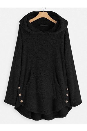 YOINS Button Design Teddy Long Sleeves Hoodie